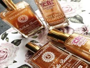 Shimmering Dry Body Oils: Who Wins? Cocoa Brown Golden Goddess vs. Bellamianta BeBellaBronzed Shimmering Dry Body Oil